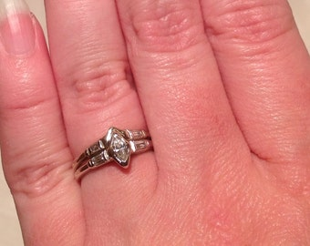 PRICED To SELL Mid Century Diamond Engagement Wedding Ring Set 14K Solid White Gold .28 Total Carat Weight GH Color Etsy andersonhs