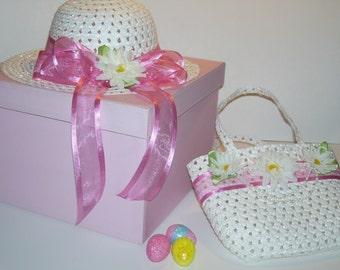 EASTER BONNET, Pink Easter Hat, Toddler Easter Hat, Girls Easter Hat,Tea Party Hat,Tea Party Hat, Spring Hat, Toddler Spring Hat, Baby Hat