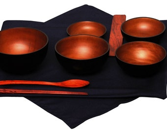 Mango Wood Black/Chestnut Oryoki Jihatsu Bowl Sets
