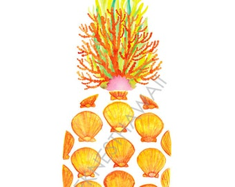 Pineapple, Reef, Seaweed, Sunrise shell, watercolor, Hawaii decor, tropical, ocean, art print
