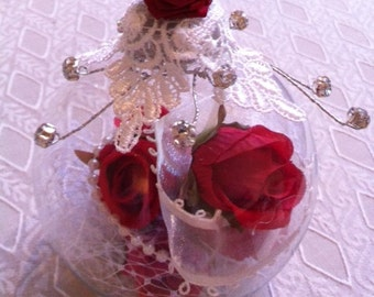 Red Rose Glass Christmas Ornament