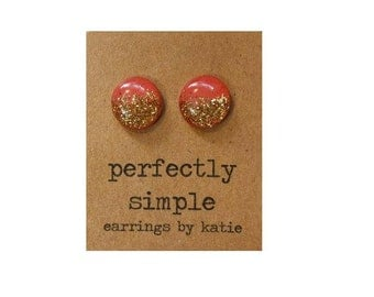 Coral with gold glitter stud earrings