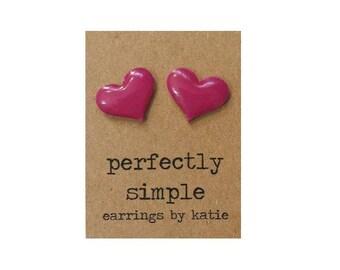 HOT PINK heart stud earrings