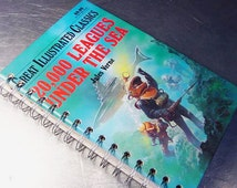 20,000 LEAGUES Under the SEA JOURNAL Vintage  Altered Book  journal Illustrated Classic Series