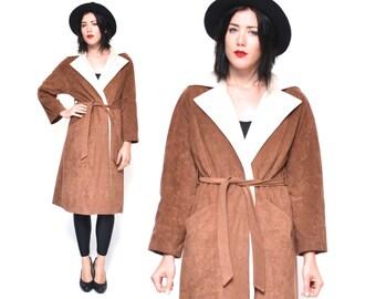 Brown Swing Coat // Suede Wrap Coat // 1970s Vegan Faux Suede Boho Tie Waist 70s Overcoat Size Small Medium