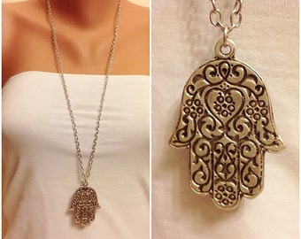 Silver Hamsa Hand Necklace, Antique Silver Necklace, Boho jewelry, Long Necklace, Protection pendant, Hand of Fatima, Good Luck Necklace,