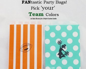 FOOTBALL Party Bags 24- Stamped Football & Cheerleader Fun FANtastic Game Day bags in Your Choice of Color Combo,dozens of colors available