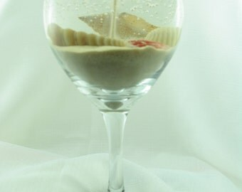 Beach Wine Glass Gel Candle