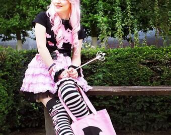 Large pastel goth creepy cute bat cat tote bag - kawaii halloween trick or treat lolita shopping bag canvas