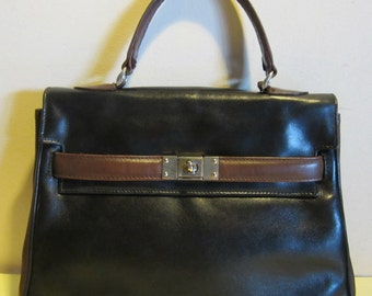 Vintage leather handbag. Kelly bag model,black and brown