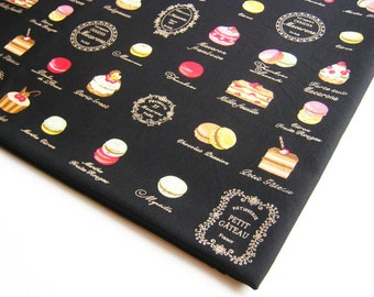 Sweets Macaroon Cake Donut Candy Pie Strawberry fabric cotton, kid dress, girl fabric, baby shower, restaurant decoration, CT235