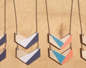 Chevron design laser cut handpainted necklace, Sandy Beaches, Water and Sand, Minty Peaches, Bluey Pinky