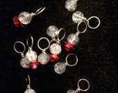 Red metal rose with white Crackle Glass bead handmade stitch markers for knitting (Qty 12)