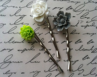 Flower Hair Pins - Bobby Pins - Set of 3 - Handmade - Hair Accessory - Stocking stuffers - Bridesmaid gifts