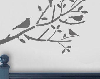 birds in tree stencil birds on branch stencil bird stencil bird branch nursery - Kids Painting Templates