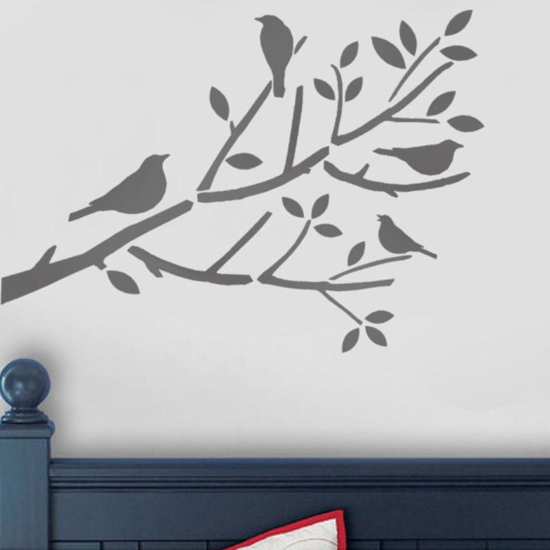 Oiseaux en pochoir arbre oiseaux sur pochoir branche pochoir for Pochoir arbre