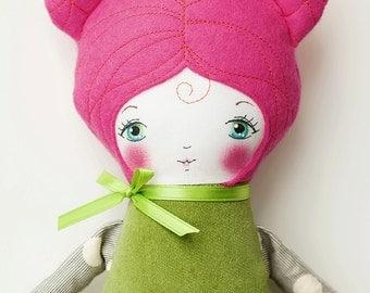 Handmade Cloth Doll with Pink Hair, Art Doll, Rag Doll