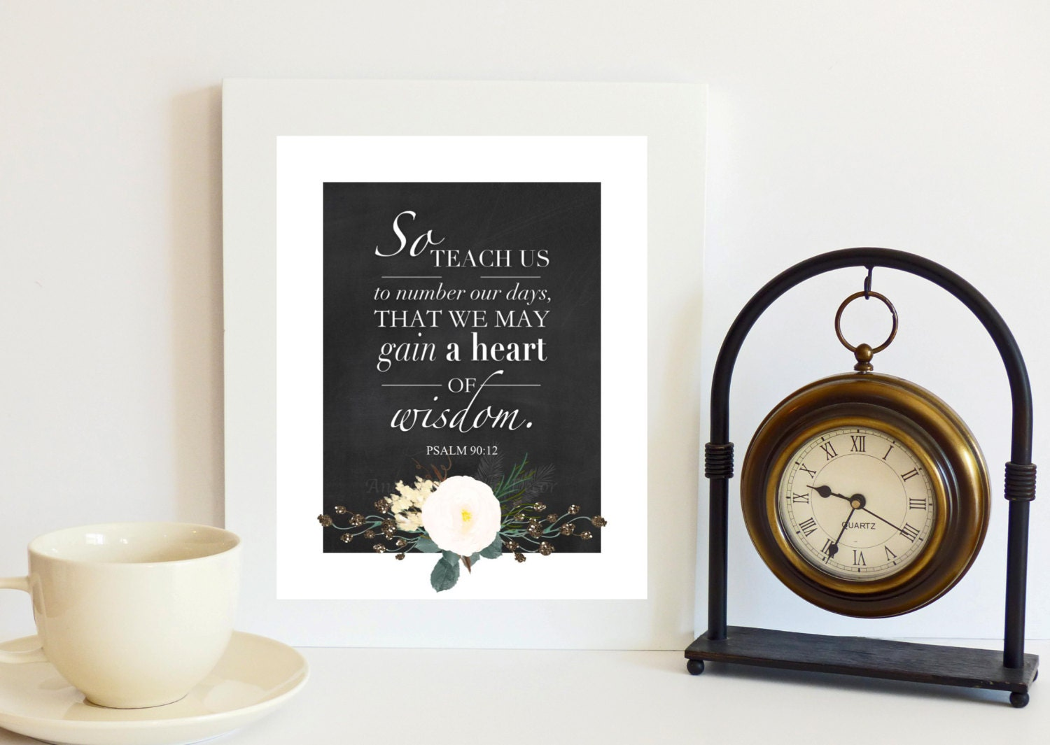 Psalm 90 12 christian home decor bible scripture print for Christian home decorations