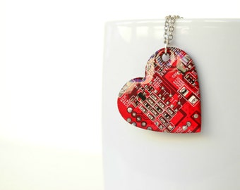 Geeky Heart  Necklace, Geekery Gothic Steampunk Jewelry, Red Heart Jewelry, Circuit Board, Nerdy Geek Lovers, Computer Jewelry
