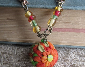 Fire Flower Green Bright Polymer Clay Applique Pendant Orange Nature Jewelry