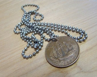1948 Half Penny Foreign Coin Necklace with Stainless Steel Ball Chain - Ship - Ocean - Sea - Sailing