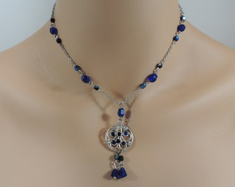 Aurora Borealis Cobalt Blue Beaded Silver Necklace