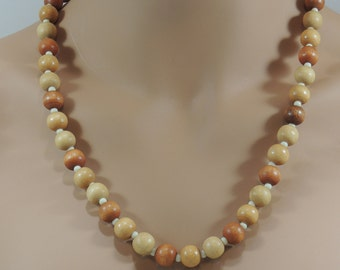 Vintage Artisan Created Wood and Milk Glass Bead Necklace