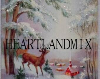 Glitter Deer in the Woods Vintage Digital Image Download Printable