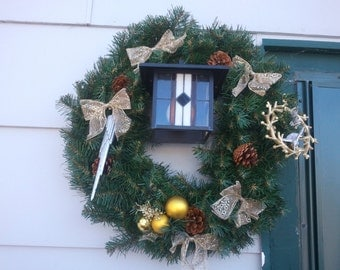 """18 inch Decorated Christmas Wreath """"Silver and Gold"""""""