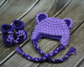 0-3 months Girls Purple Crochet Bear Hat and Booties Set