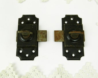 2 Identical  Antique French Sliding Metal Bolts / Latch /  Lock / Industrial Decor / Diy / French Country Decor / Home Improvement / Door