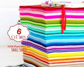 "6"" X 8"" Felt Sheets - 6 Small Felt Sheets - 100% Merino Wool Felt - Pure Wool Felt Sheets - You Choose your Colors - Small Wool Felt Sheets"