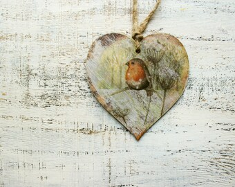 Rustic wooden heart Christmas ornament Christmas decoration cottage chic shabby chic red orange yellow off white brown billfinch robin bird