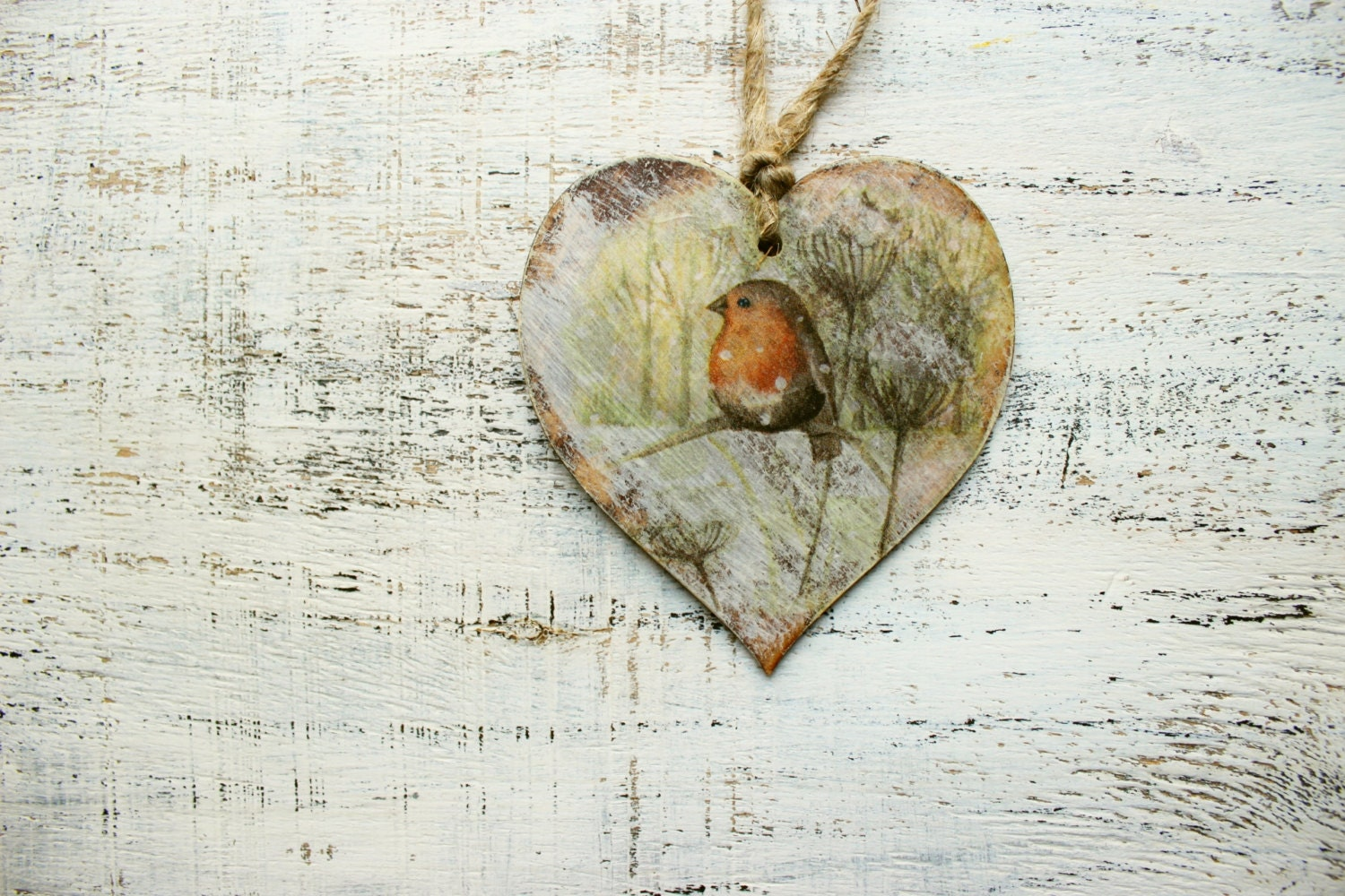 Rustic wooden heart christmas ornament decoration