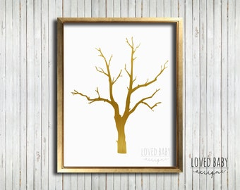 Gold tree print - DIY, Printable, Instant download