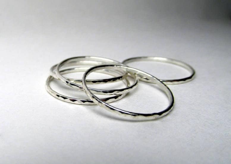 hammered silver stacking ring set of 5 thin stackable rings