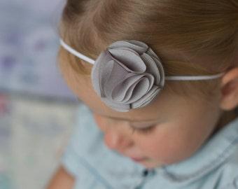 Gray Baby Headband Chiffon Flower Headband Baby girl newborn Tiny Flower  Petite fabric flower Bow grey