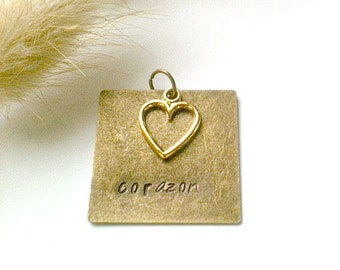 "Metal Stamped Bronze Pendant With Gold Heart Charm, Handmade Pendant, ""Corazon"" (spanish for Heart)"