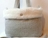 Off White Dog Carrier Bag Woll and Tissavel Faux Fur Luxury  Dog Carrier Purse
