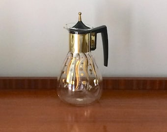 Gold black glass carafe mid-century 1960s coffee Pyrex test
