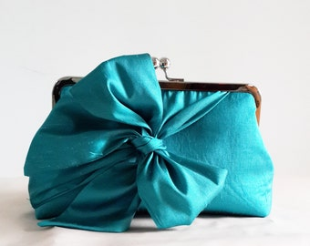 SALE Bridesmaid Clutch, Turquoise Wedding Clutch Purse, Mother of the bride, Bridal clutch, bow, green, party clutch, Ready to ship