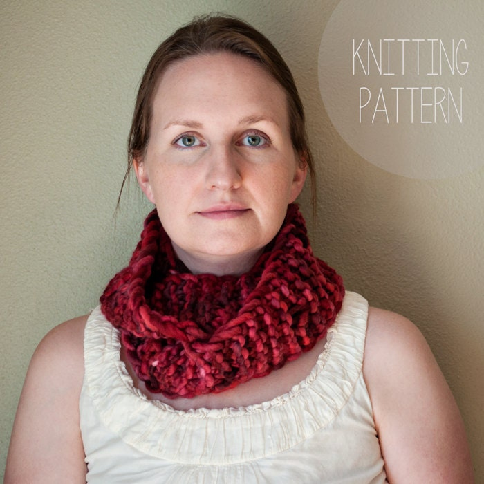 Infinity Scarf PDF Pattern, Oversized Scarf, Knit Scarf, Straight Needles, Su...