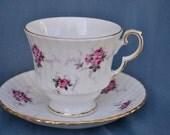 Pink Rose Teacup and Saucer, Hammersley China, Princess House, Floral China, Windsor Rose,Fine Bone China
