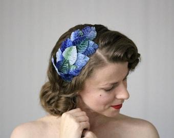 "Blue Headband, Leaf Hair Accessory, Ombre Leaves Headpiece, 1950s Fascinator, Headband for Women - ""Silvan Skyline"""