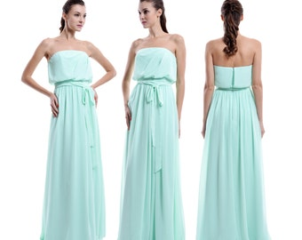 Mint Long Bridismaid Dress, Strapless Bridesmaid Dress, A-line Chiffon Bridesmaid Dress, Cheap Prom Dress