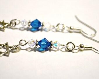Blue Crystal Star of David Jewelry - Magen David Crystal Earrings - Jewish Star - Hebrew Jewelry - Kabbalah