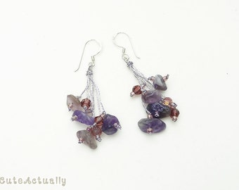 Purple earring with amethyst and crystal on silk thread with sterling silver ear wires, dangle earing