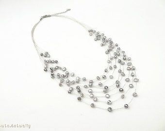 Silver gray freshwater pearl necklace with crystal on silk thread, Multistrand necklace, gray pearl necklace