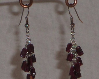 Wire wrapped garnet earrings