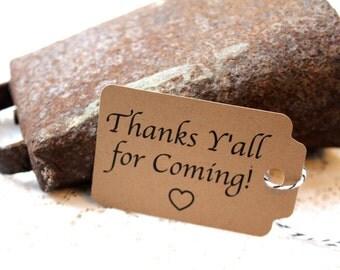 Wedding Tags, MEDIUM, Thank You Tags, Thanks Y'all, Wedding Favor Tags, Thank You Tag